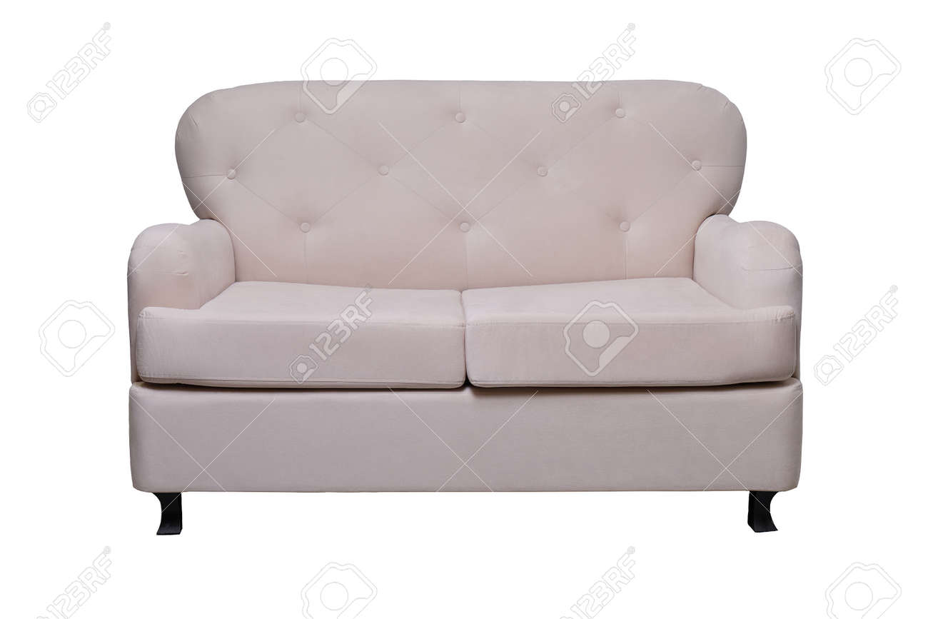 modern grey fabric sofa isolated on white, front view. contemporary couch - 167174057