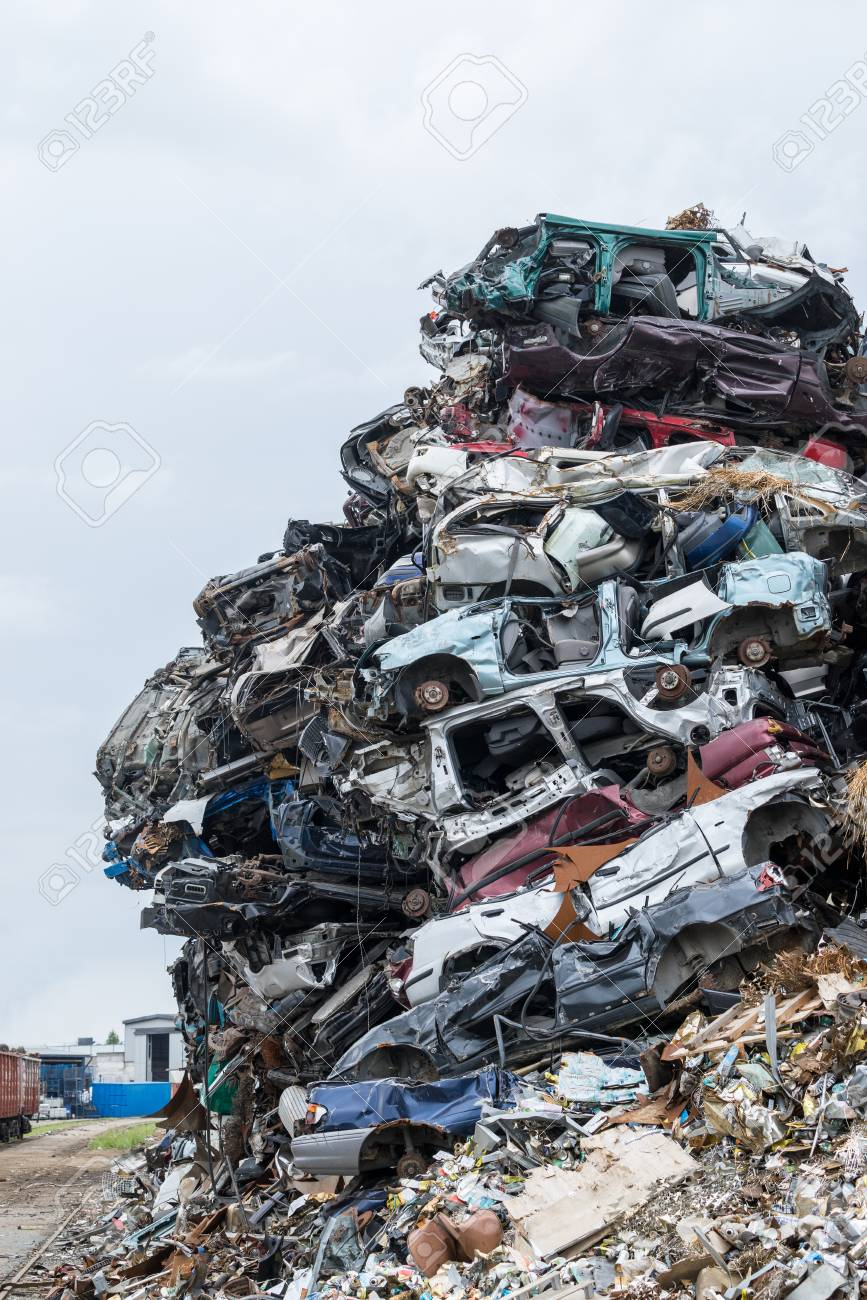 Dumping Ground. Scrap Metal Heap. Compressed Crushed Cars Is.. Stock ...