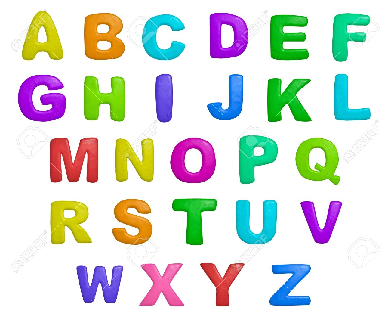 stock photo isolated cartoon color plasticine alphabet on a white background