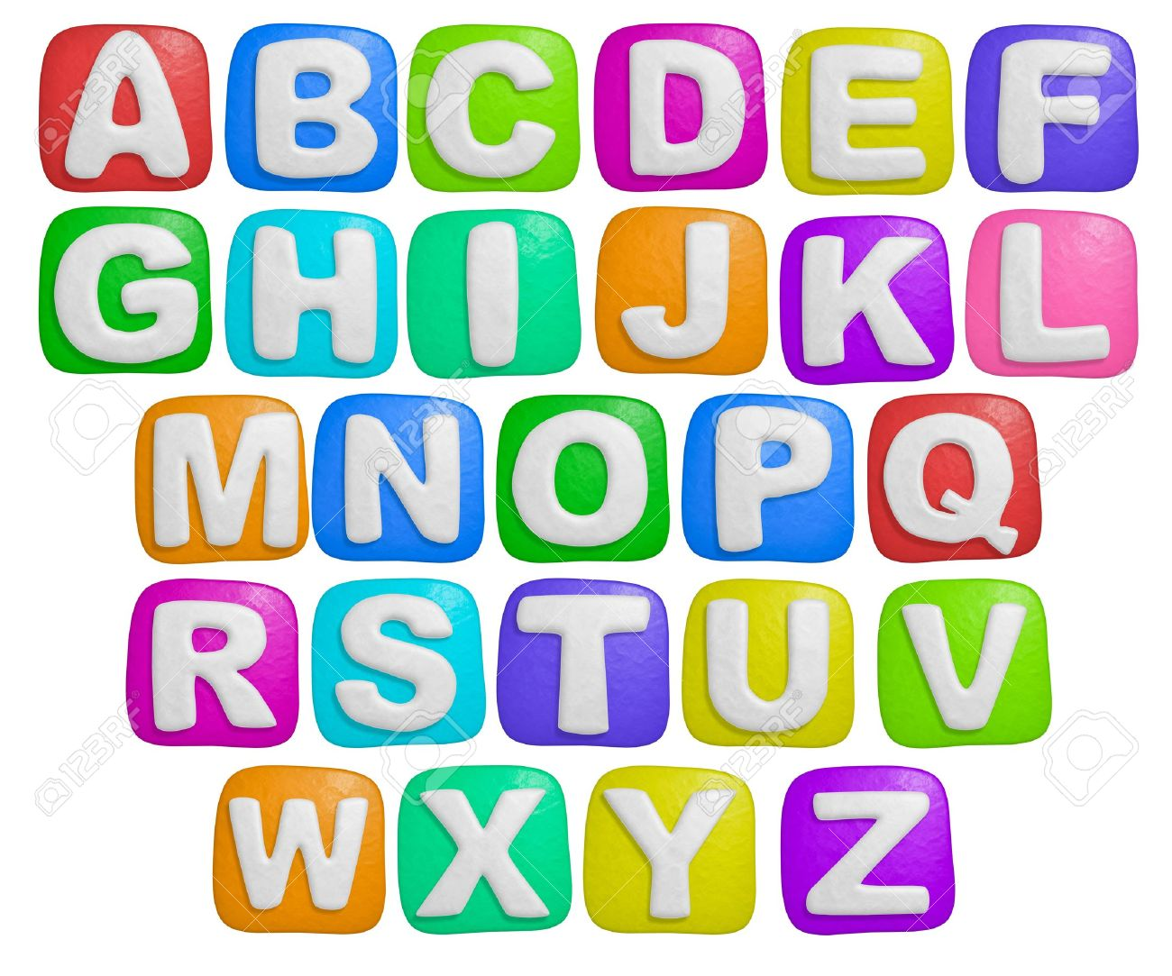 isolated cartoon color plasticine alphabet on a white background stock photo 5521213
