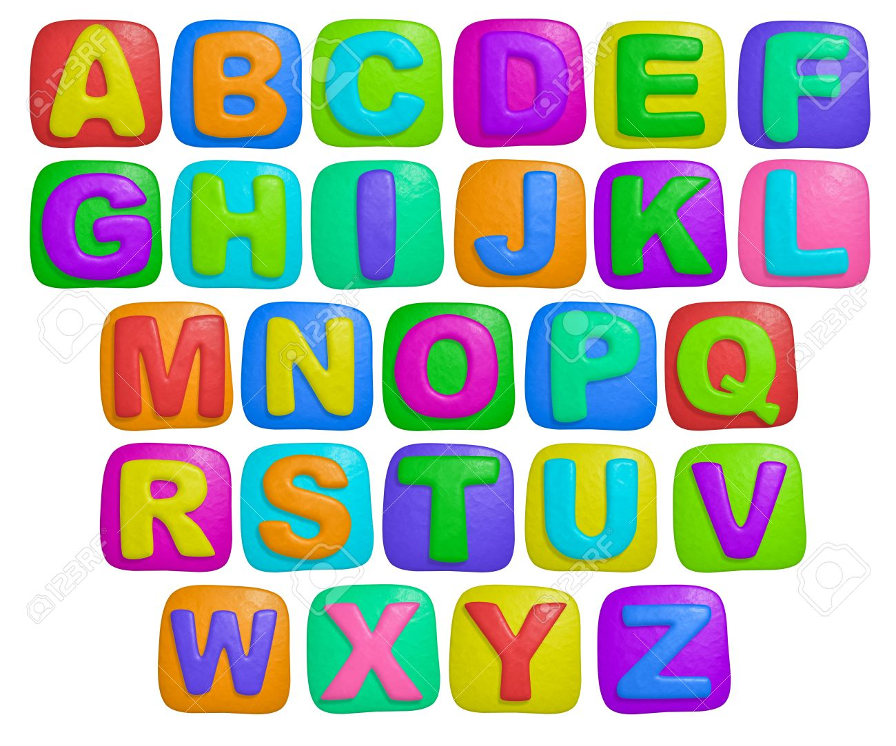 isolated cartoon color plasticine alphabet on a white background stock photo 5521211