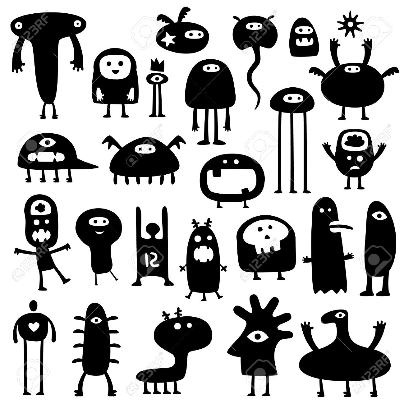 Collection of cartoon funny monsters silhouettes Stock Vector - 7498942