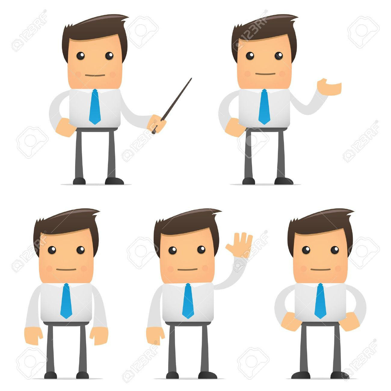 set of funny cartoon office worker in various poses for use in presentations, etc. - 8717366