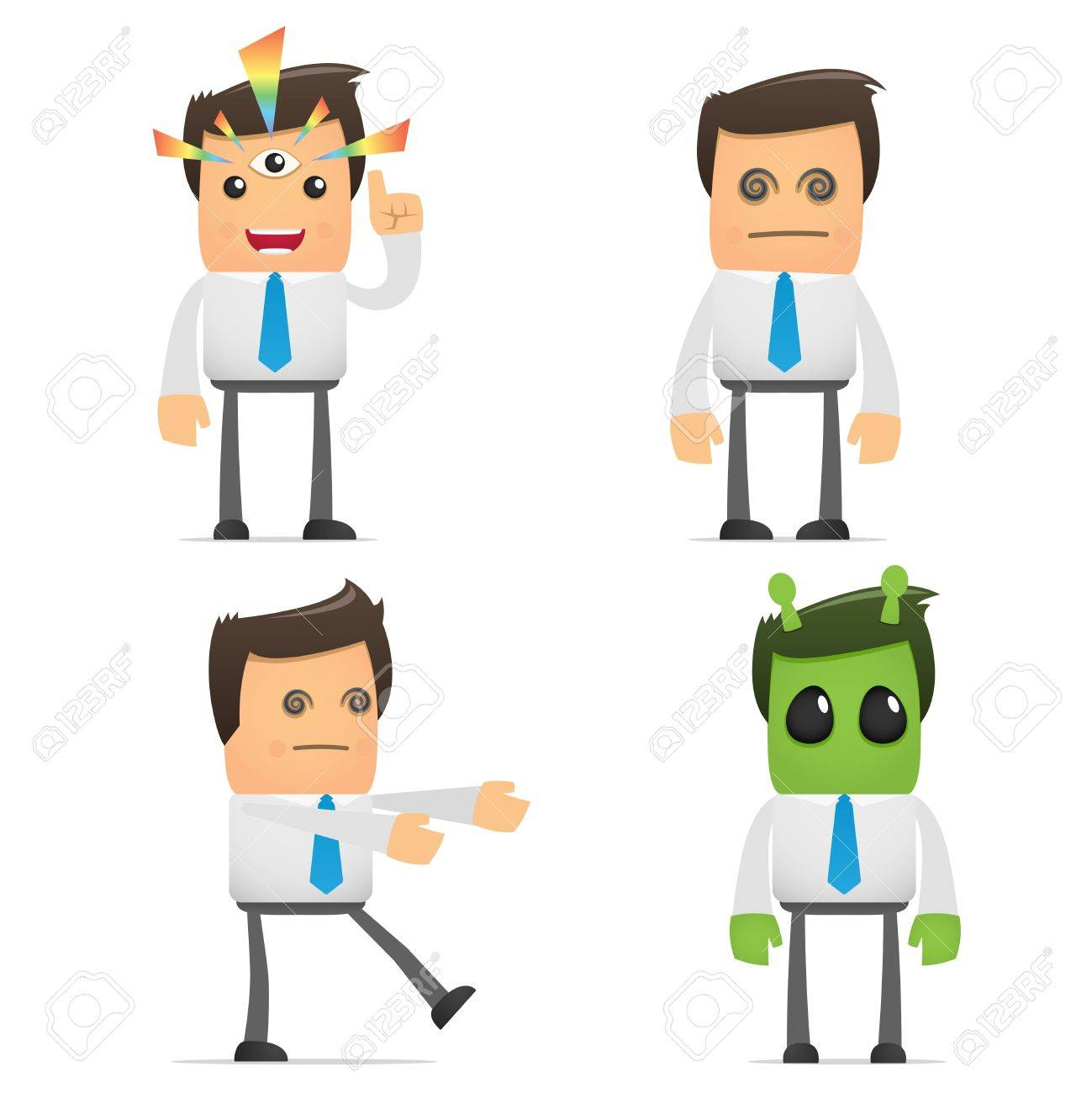set of funny cartoon manager Stock Vector - 8717390