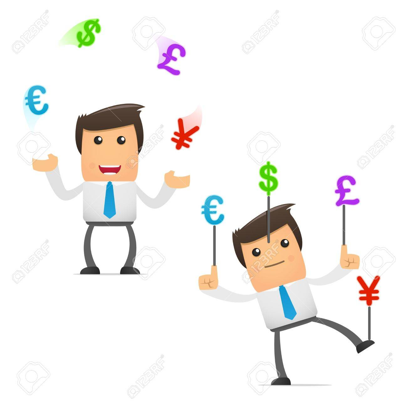 set of funny cartoon manager Stock Vector - 8717392