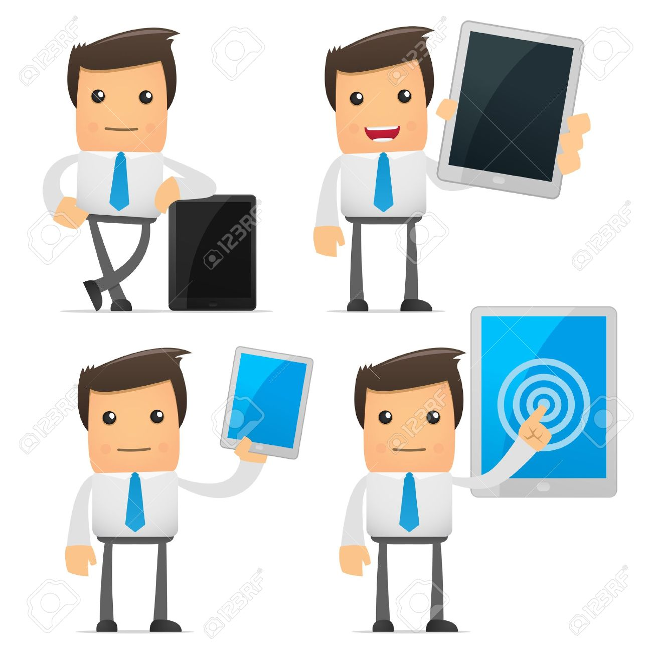 set of funny cartoon manager Stock Vector - 9116577