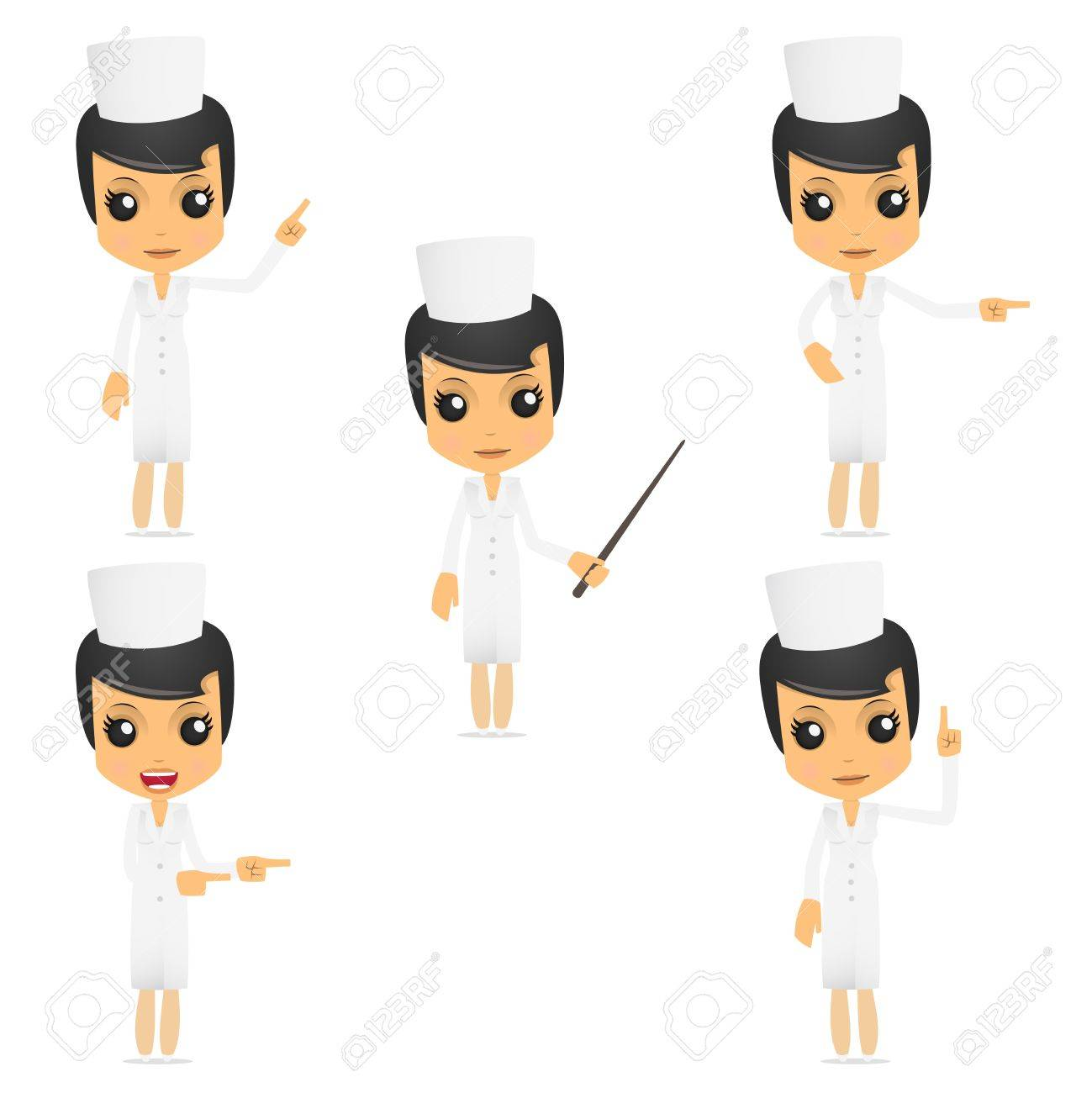 set of funny cartoon nurse Stock Vector - 9646534
