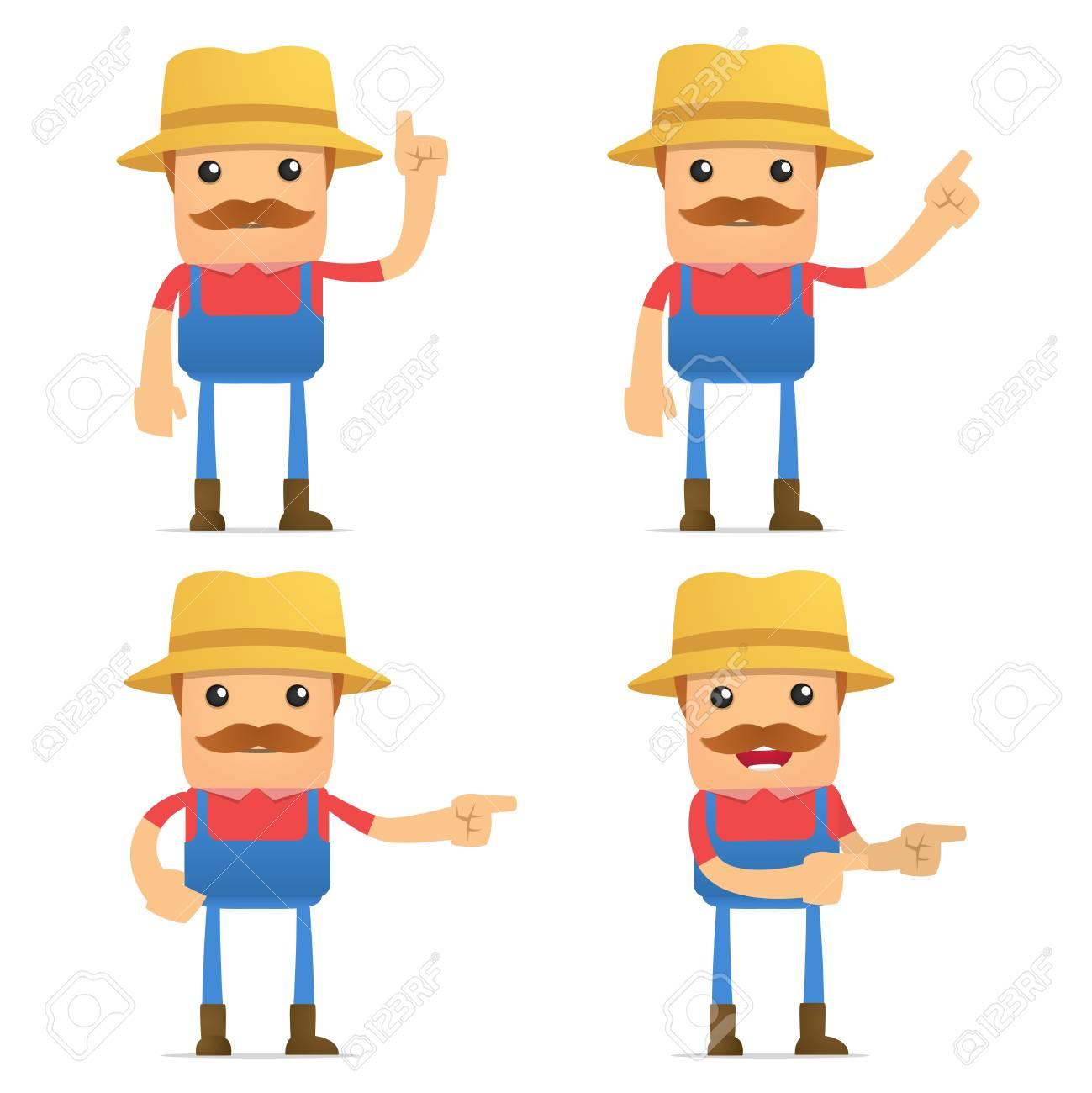 set of funny cartoon farmer Stock Vector - 9934007