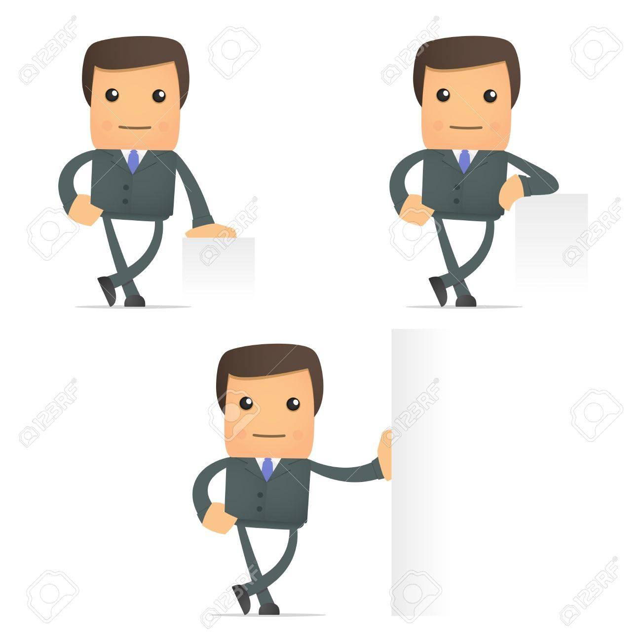 cartoon businessman leaning on an empty block Stock Vector - 10144496