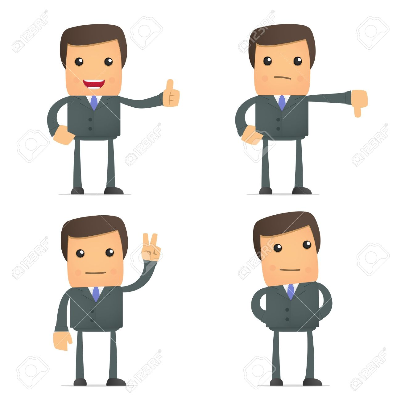 funny cartoon businessman hold thumb up and down Stock Vector - 10144512