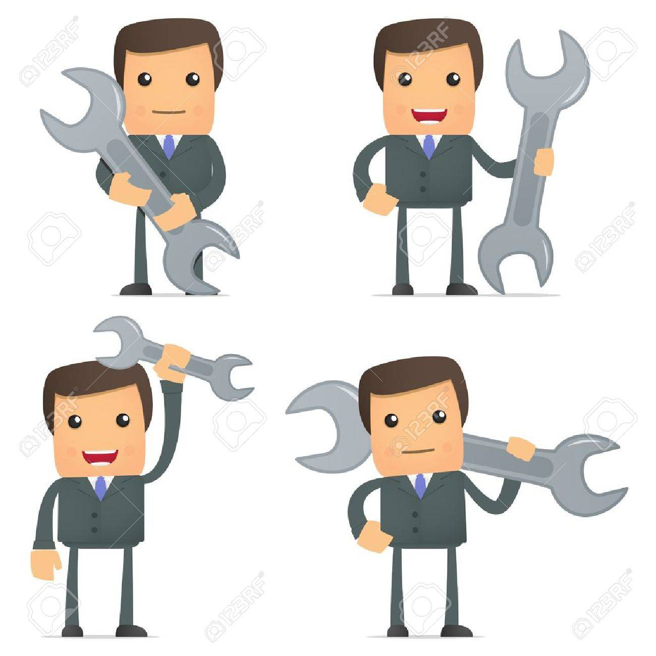 funny cartoon businessman with a spanner - 10144849