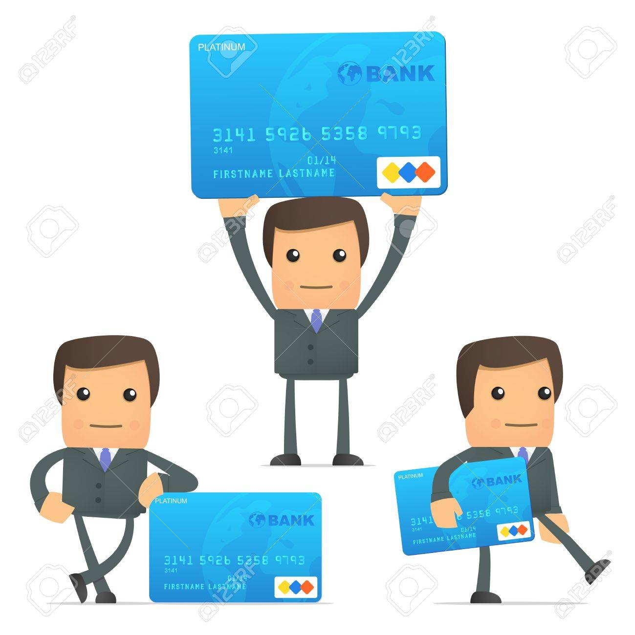 funny cartoon businessman with credit card royalty free cliparts