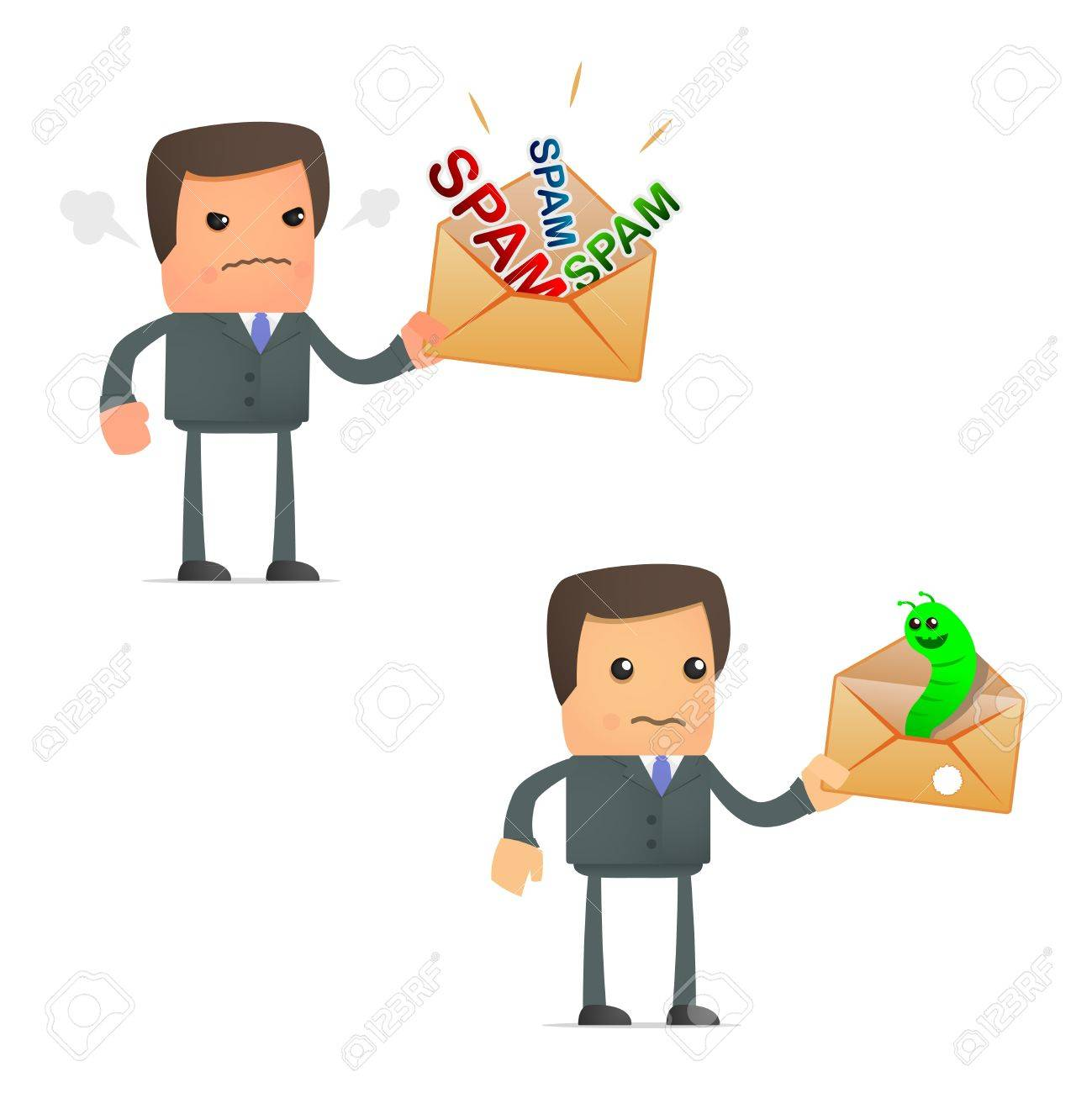 cartoon businessman angry at spam and viruses Stock Vector - 10144929