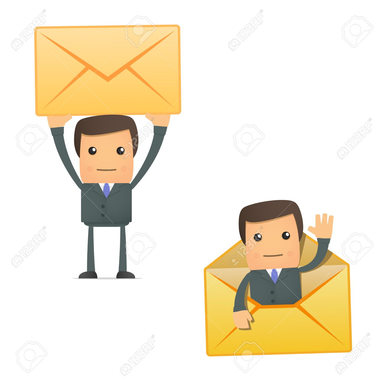funny cartoon businessman with a letter Stock Vector - 10144508