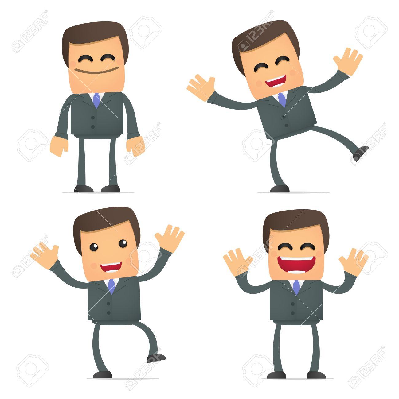 Business team cartoon characters cartoon vector cartoondealer com - Communication Cartoon Businessman Dancing And Jumping From Joy