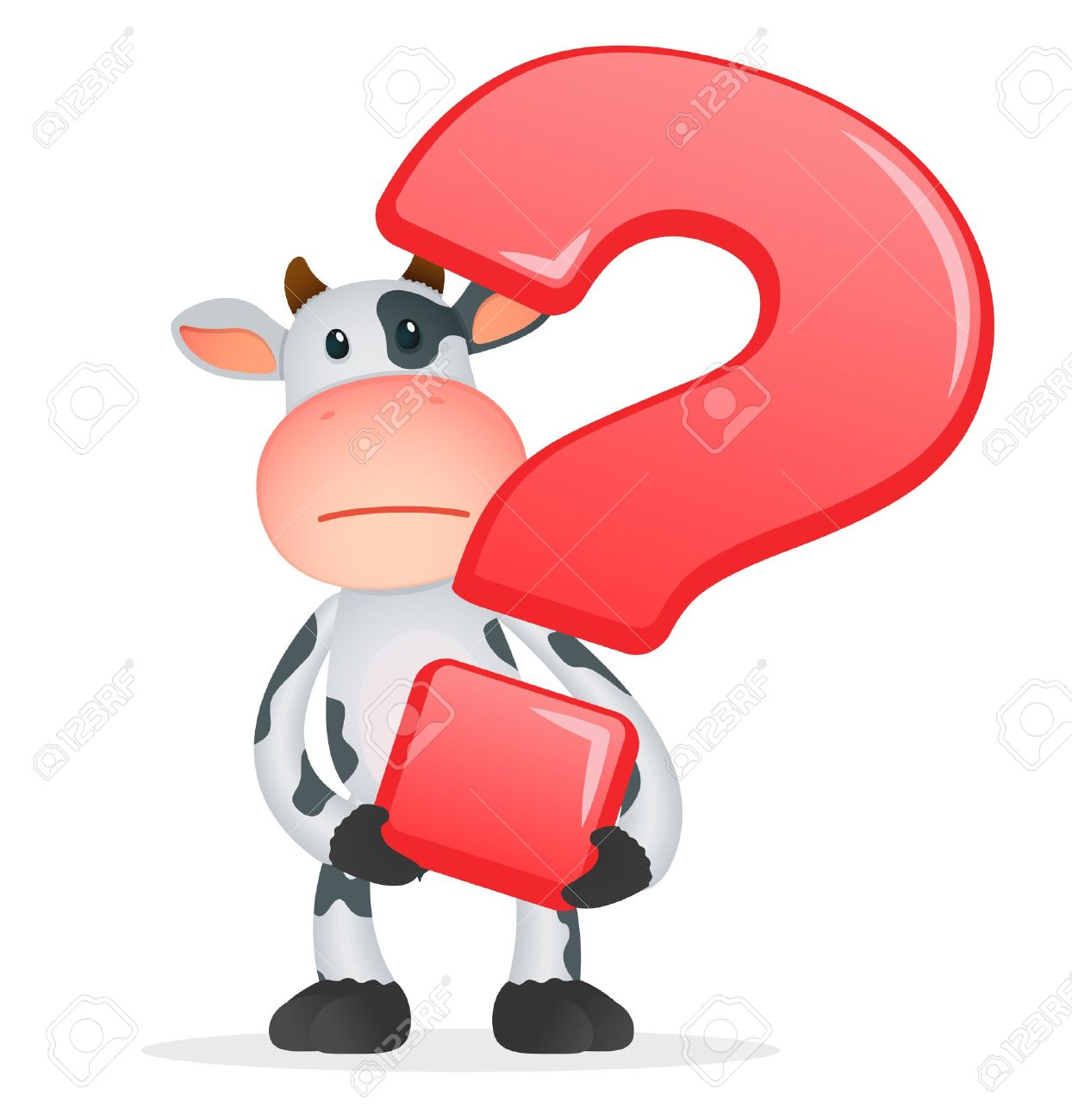 Pics photos clip art cartoon scientist with question mark stock - Asking Funny Cartoon Cow Illustration