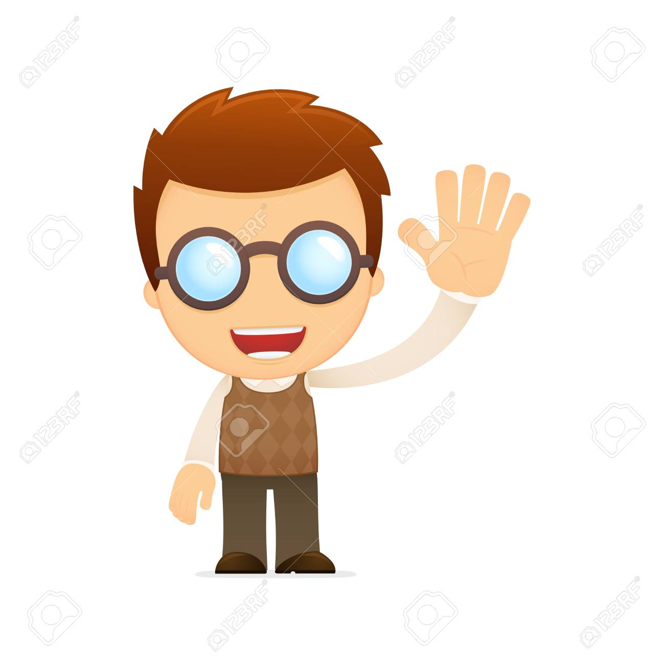 funny cartoon genius Stock Vector - 13697391