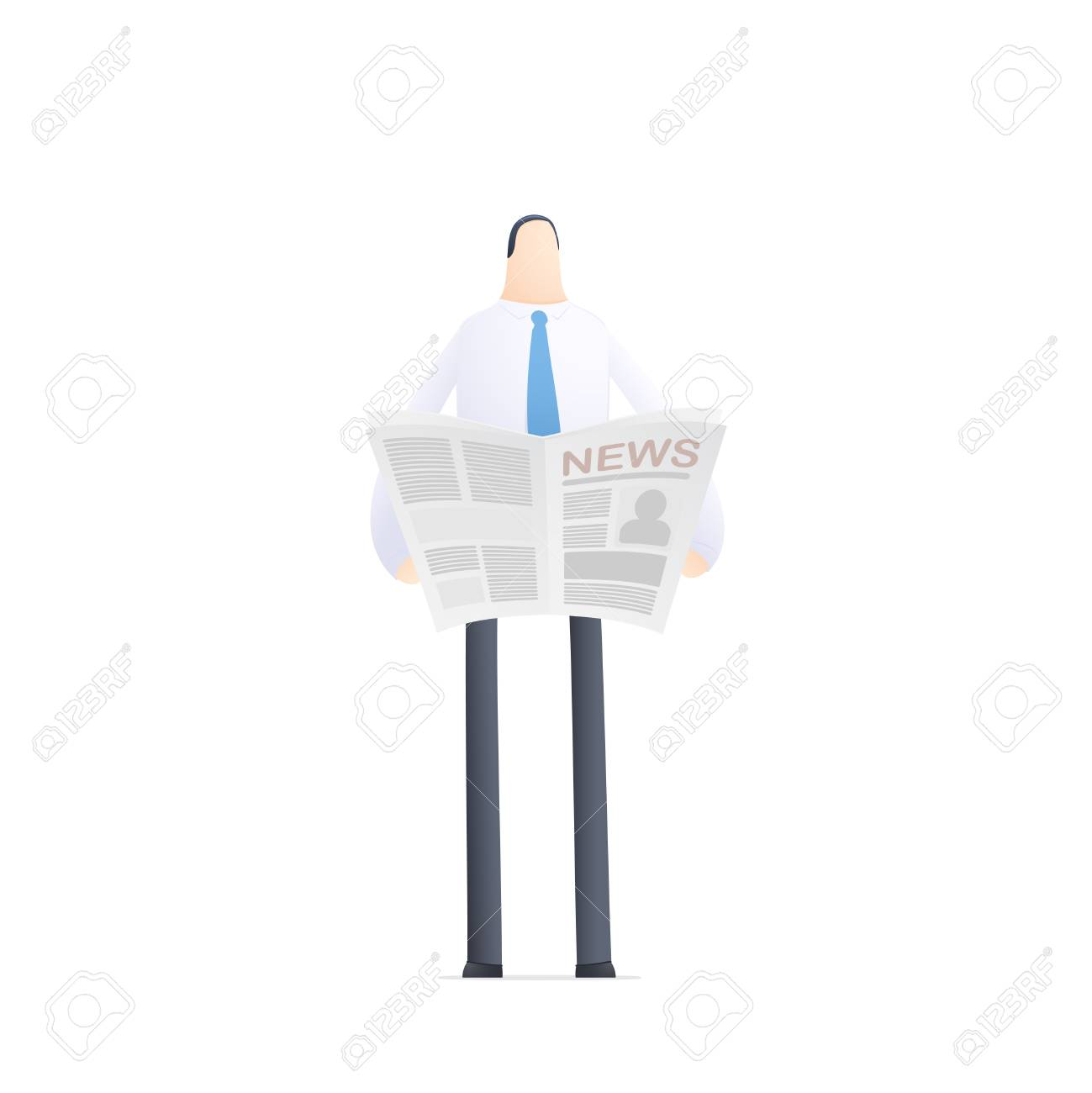 young businessman reads the news Stock Vector - 17580302