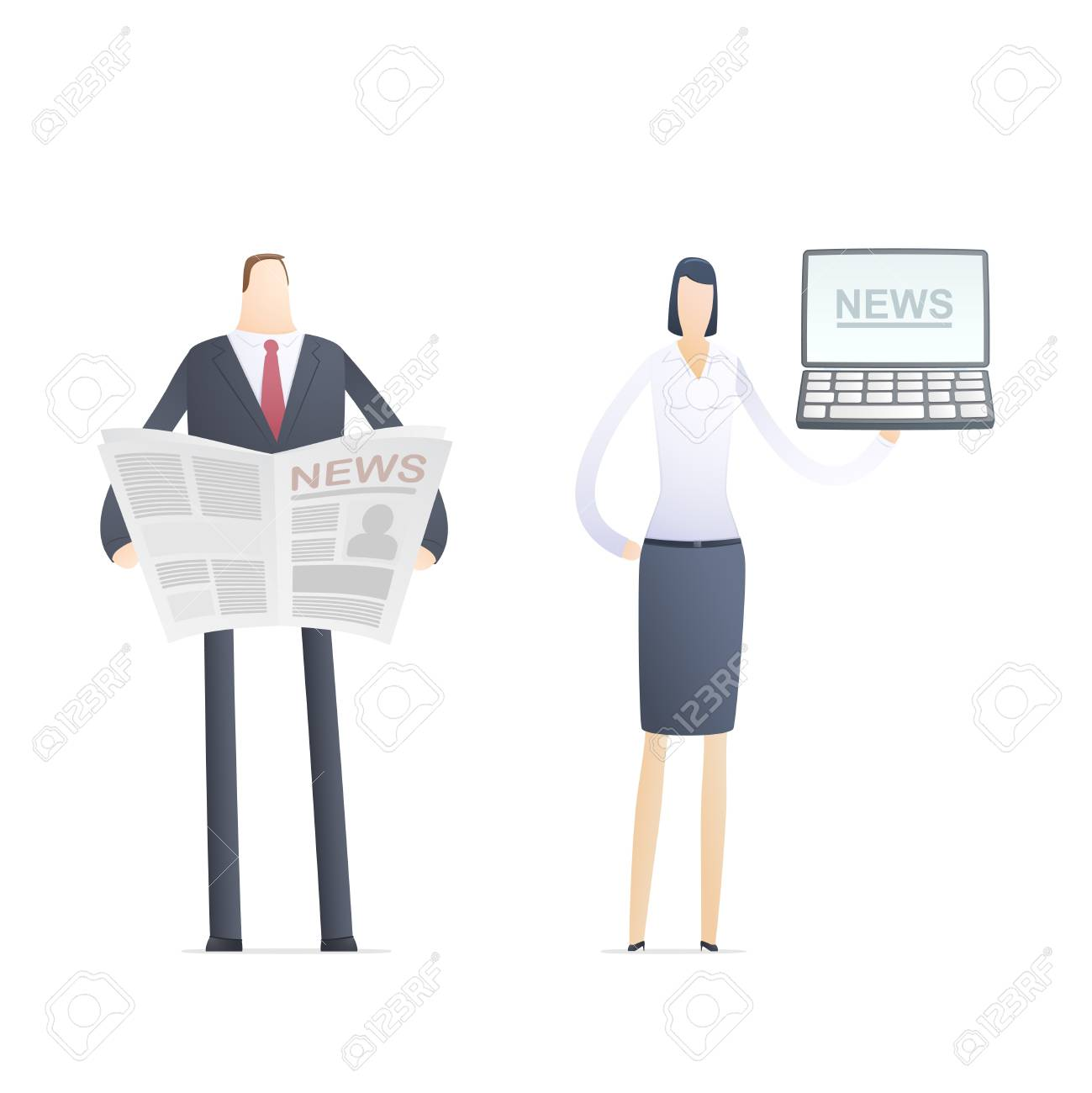 news in the paper and on the computer Stock Vector - 17580315