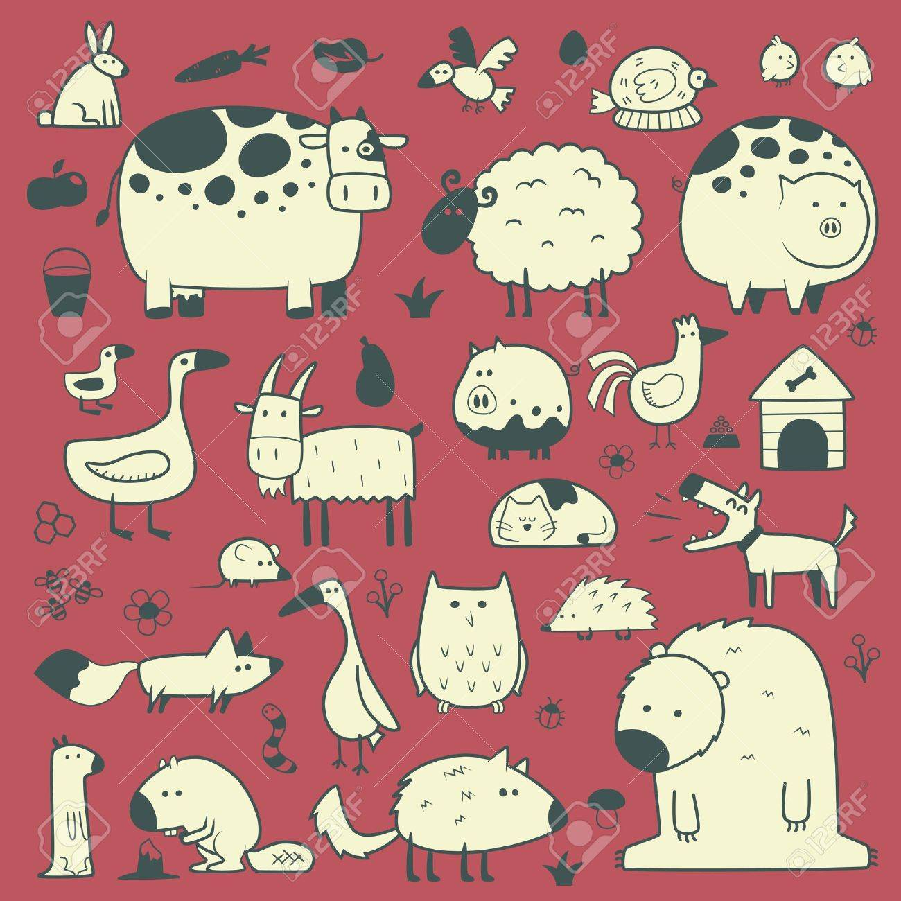 domestic and forest animals Stock Vector - 21846197