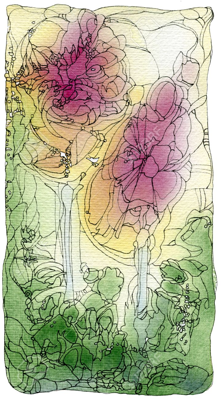 Deux Roses, Résumé Style Art Nouveau Peinture Originale D\'aquarelle ...