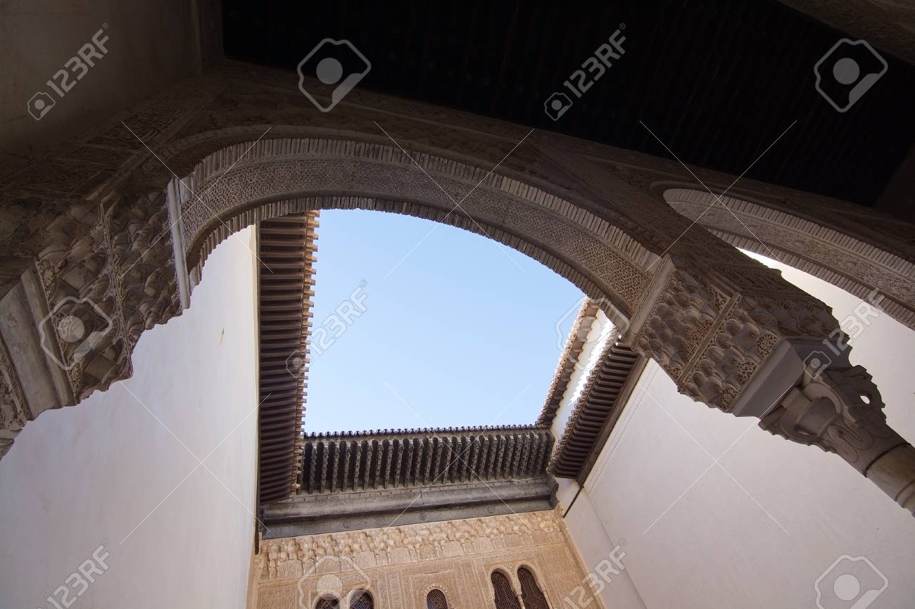 alhambra islamic moorish palace architecture details hole in stock