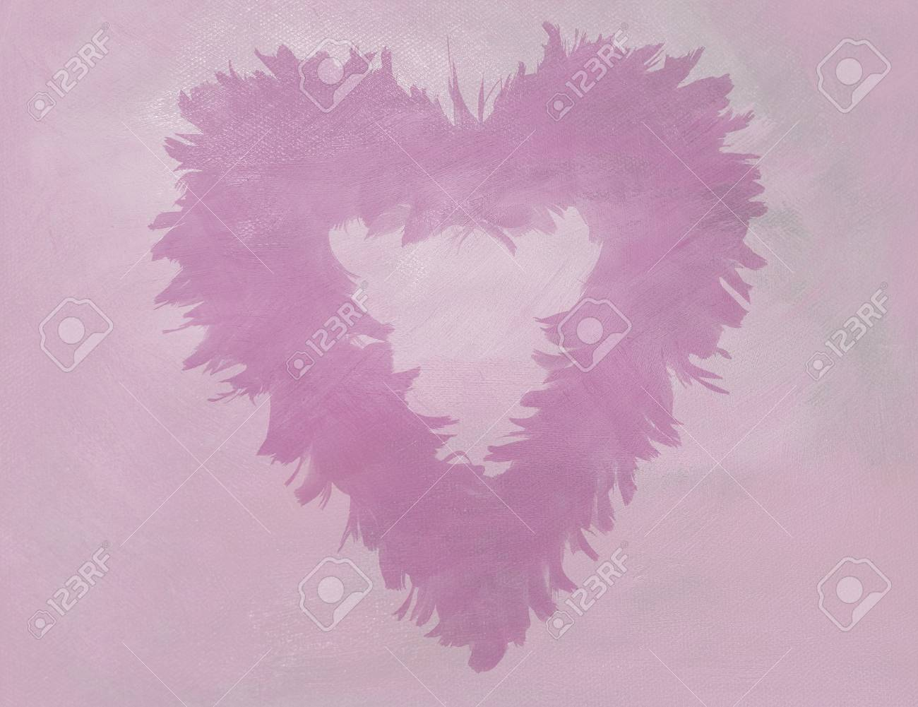 Feather heart on pink oil painting canvas background copy space
