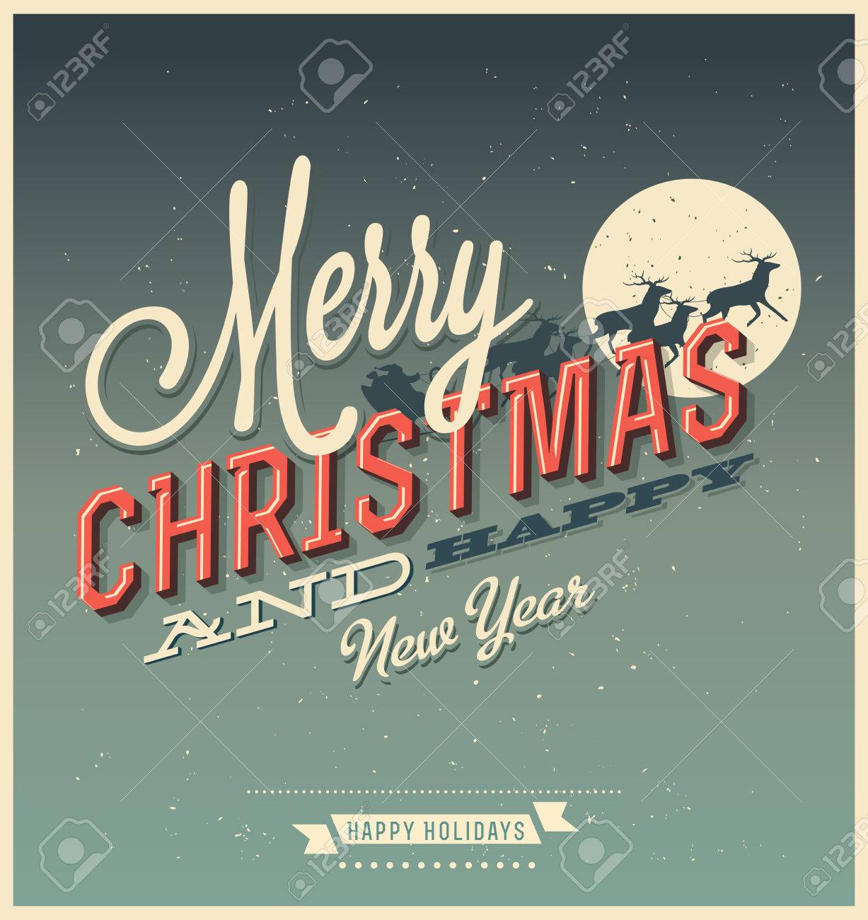 Christmas Retro Revival Old Fashioned Christmas Card 1940 1980 Stock Photo Picture And Royalty Free Image Image 34300522