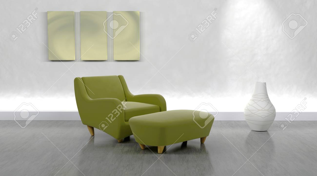 Phenomenal 3D Render Of Contemporary Arm Chair And Ottoman In Modern Setting Pdpeps Interior Chair Design Pdpepsorg
