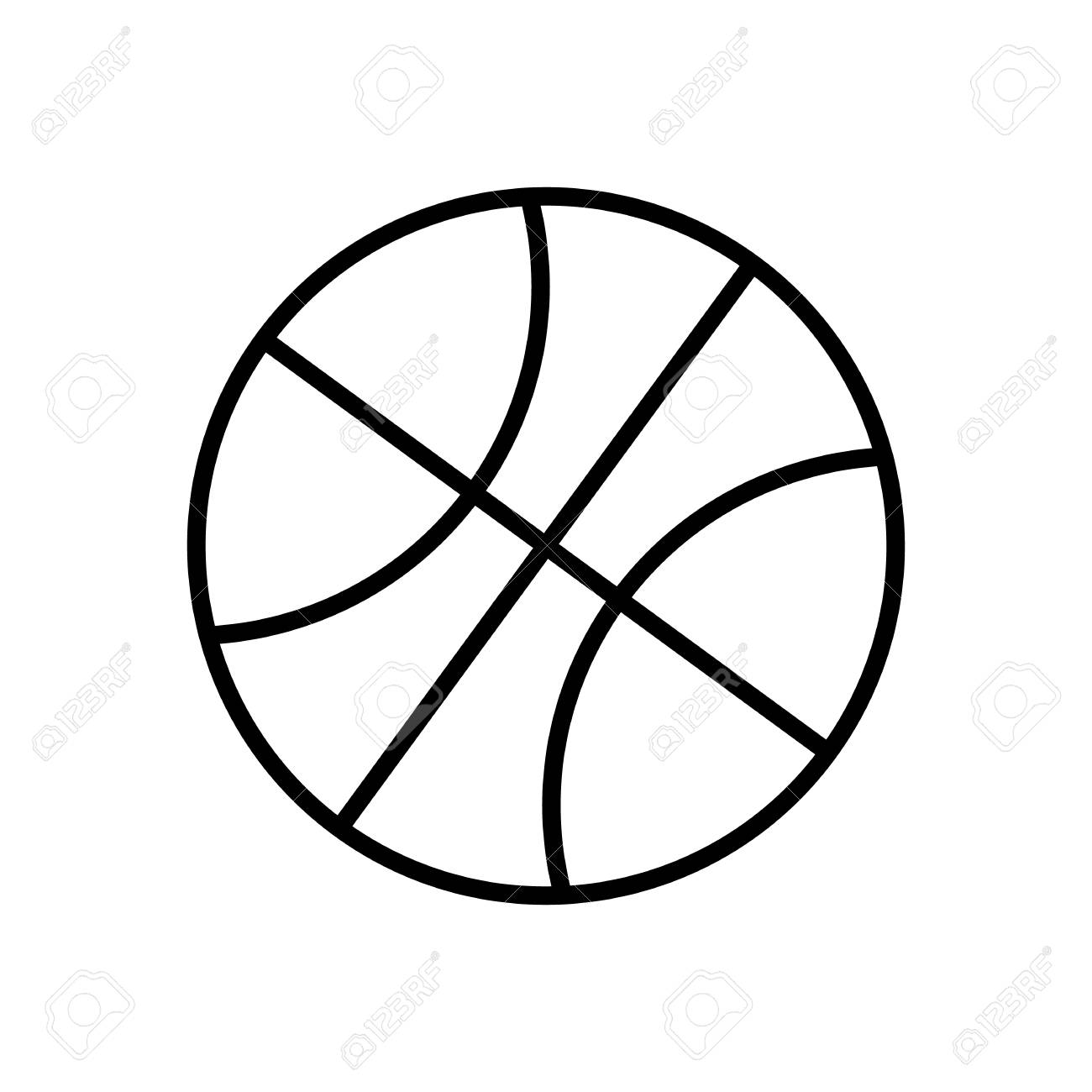 Black And White Basketball Ball Outline Vector Icon Isolated Stock Vector    82544673