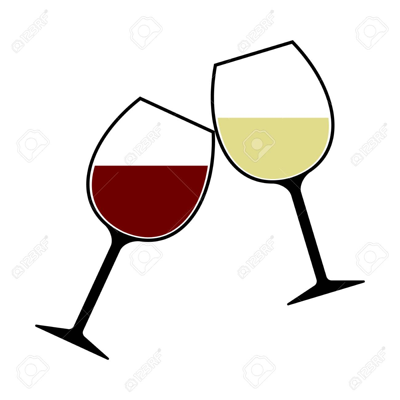 red and white wine glasses clink vector isolated cheers royalty rh 123rf com wine glass clip art images wine glass clip art black white