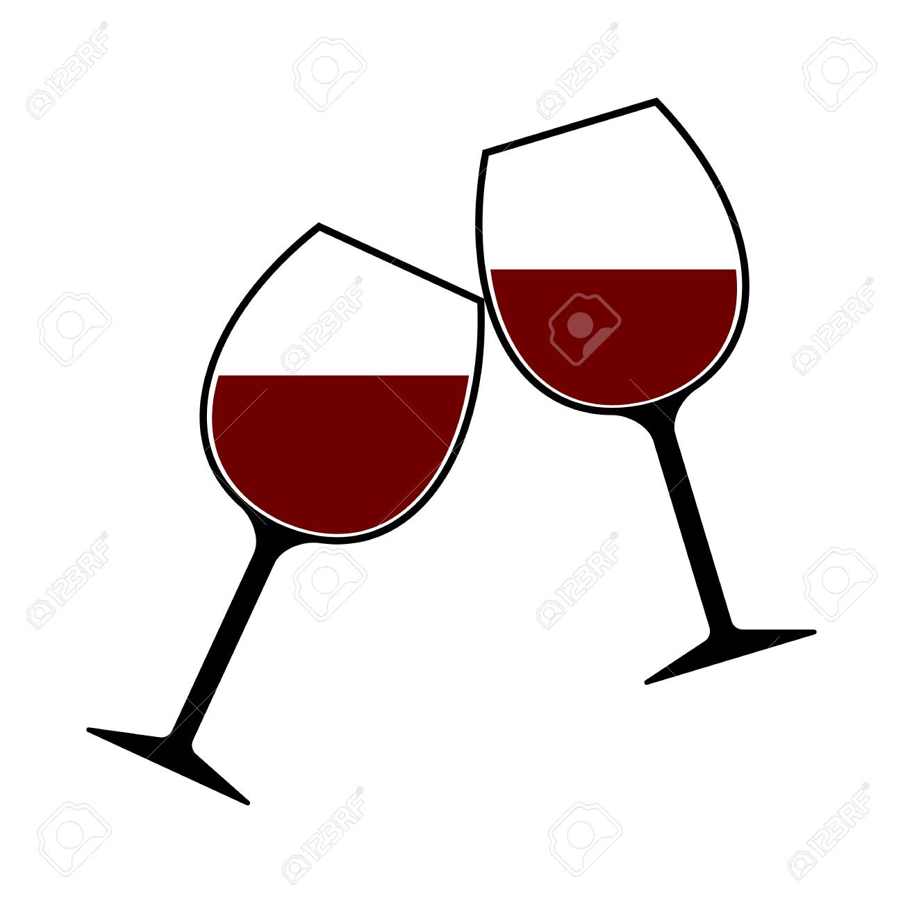 red wine glasses clink vector isolated cheers royalty free cliparts rh 123rf com wine vector freepik wine vector png