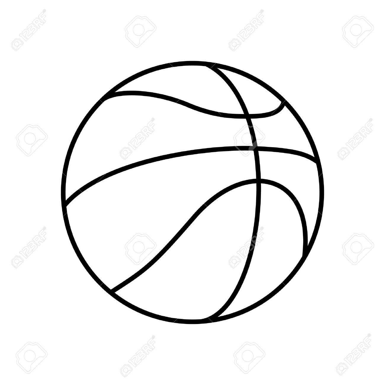 Black And White Basketball Ball Outline Vector Icon Isolated Royalty
