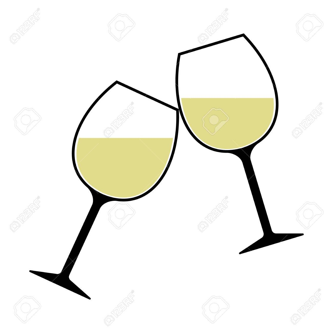 2c4c0515ea0 White Wine Glasses Clinking Vector Isolated - Cheers! Stock Vector -  82977233