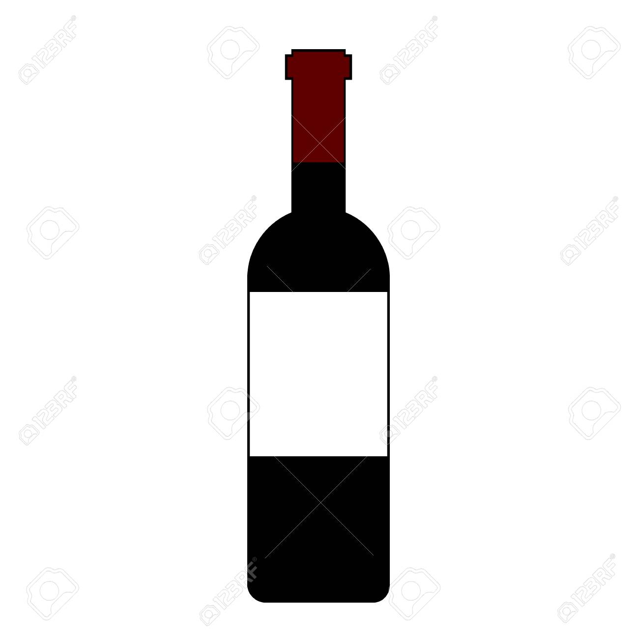 Icône de bouteille de vin rouge isolé