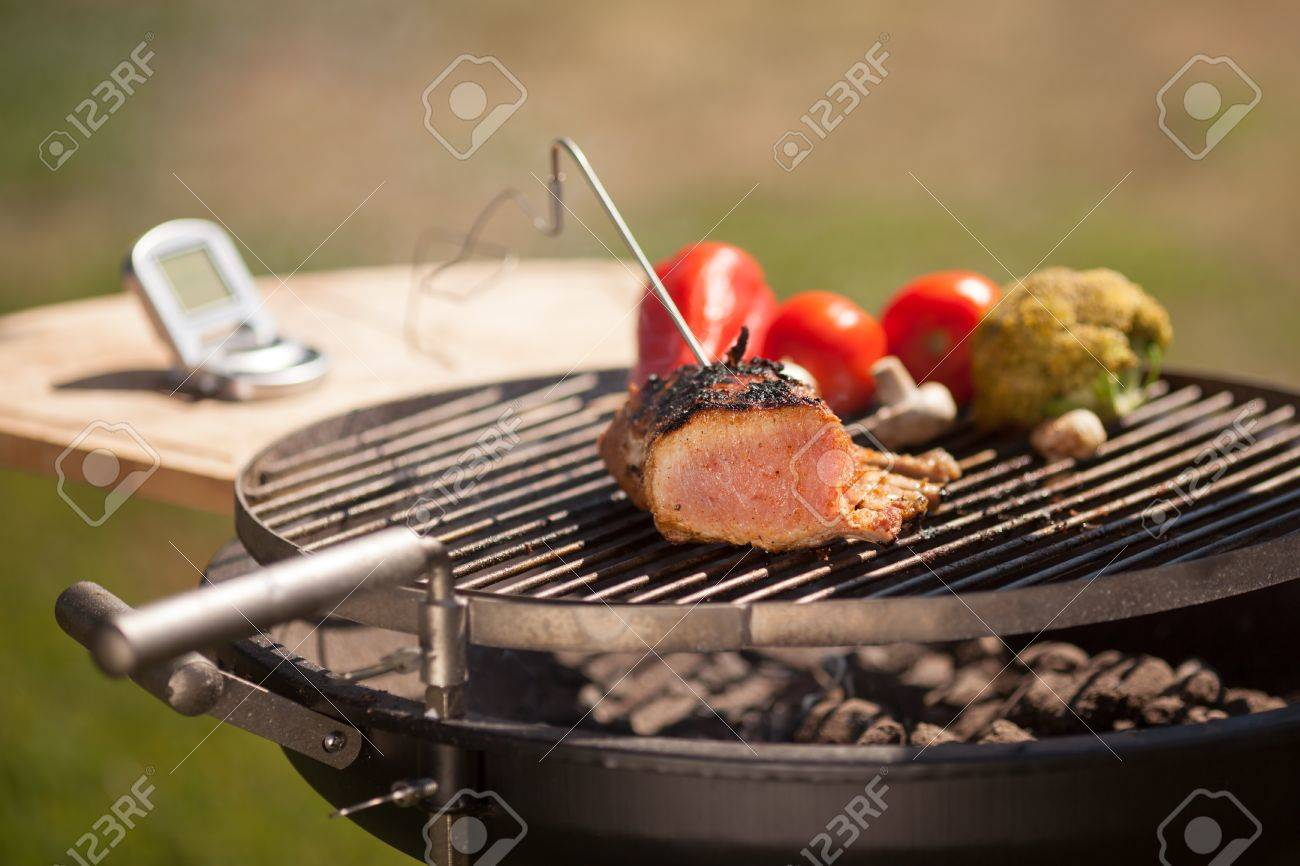 Background image 7945 - Checking Meat Temperature While Grilling Vegatebles On Background Stock Photo 35979454