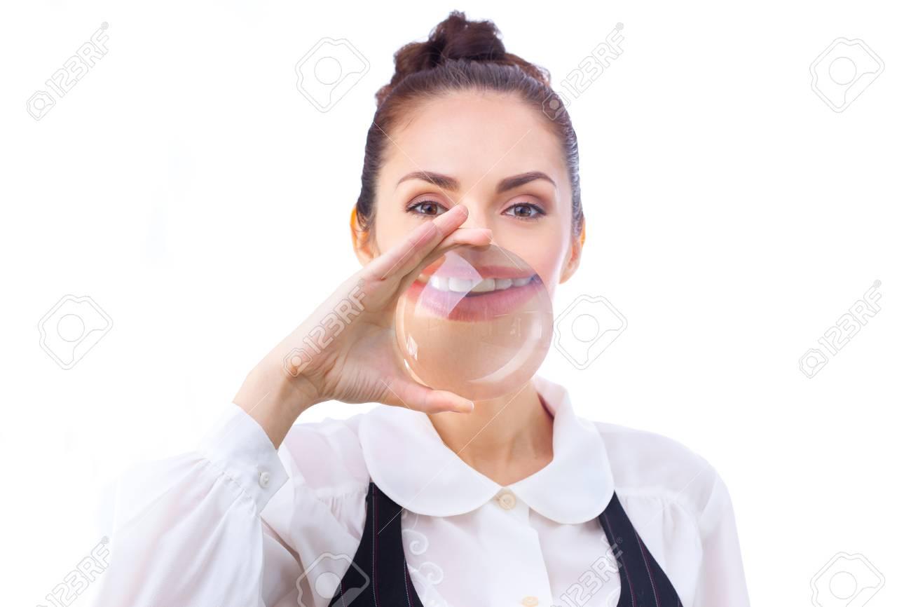 Schließen Sie Bis Der Mund Mit Den Weißen Gesunden Zähnen Durch ...