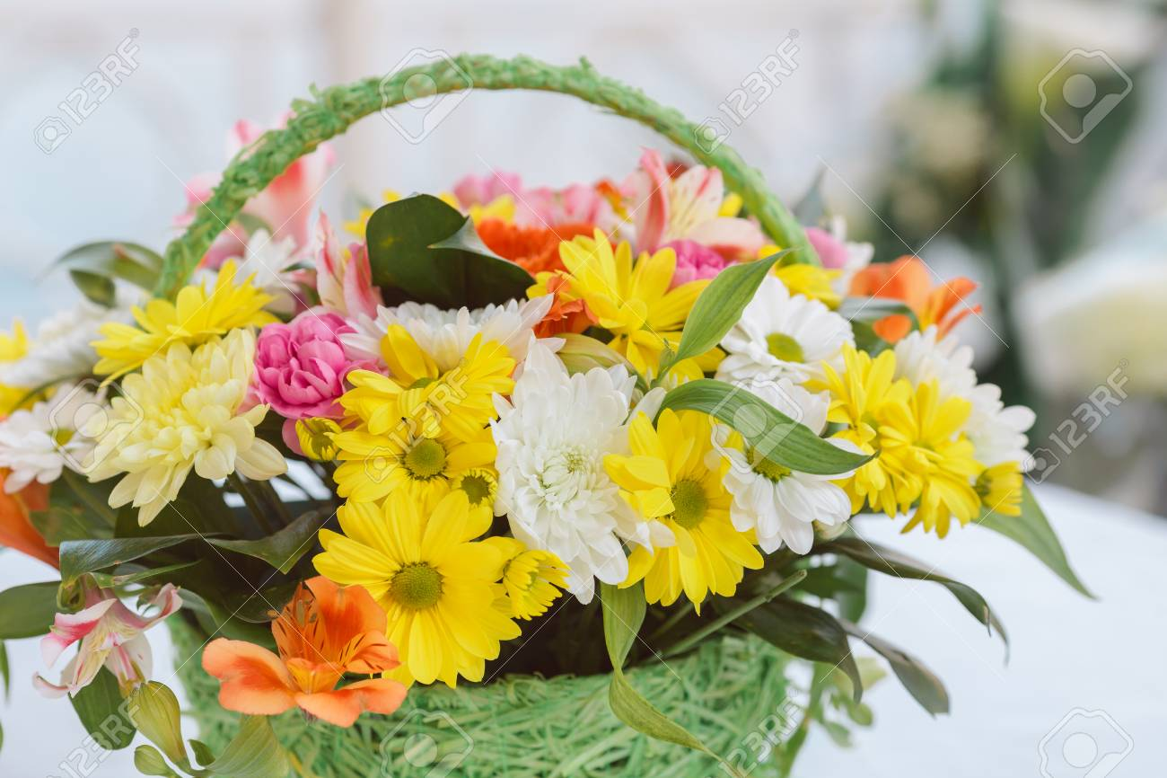 Bouquet Of Yellow White And Orange Flowers Stock Photo Picture And