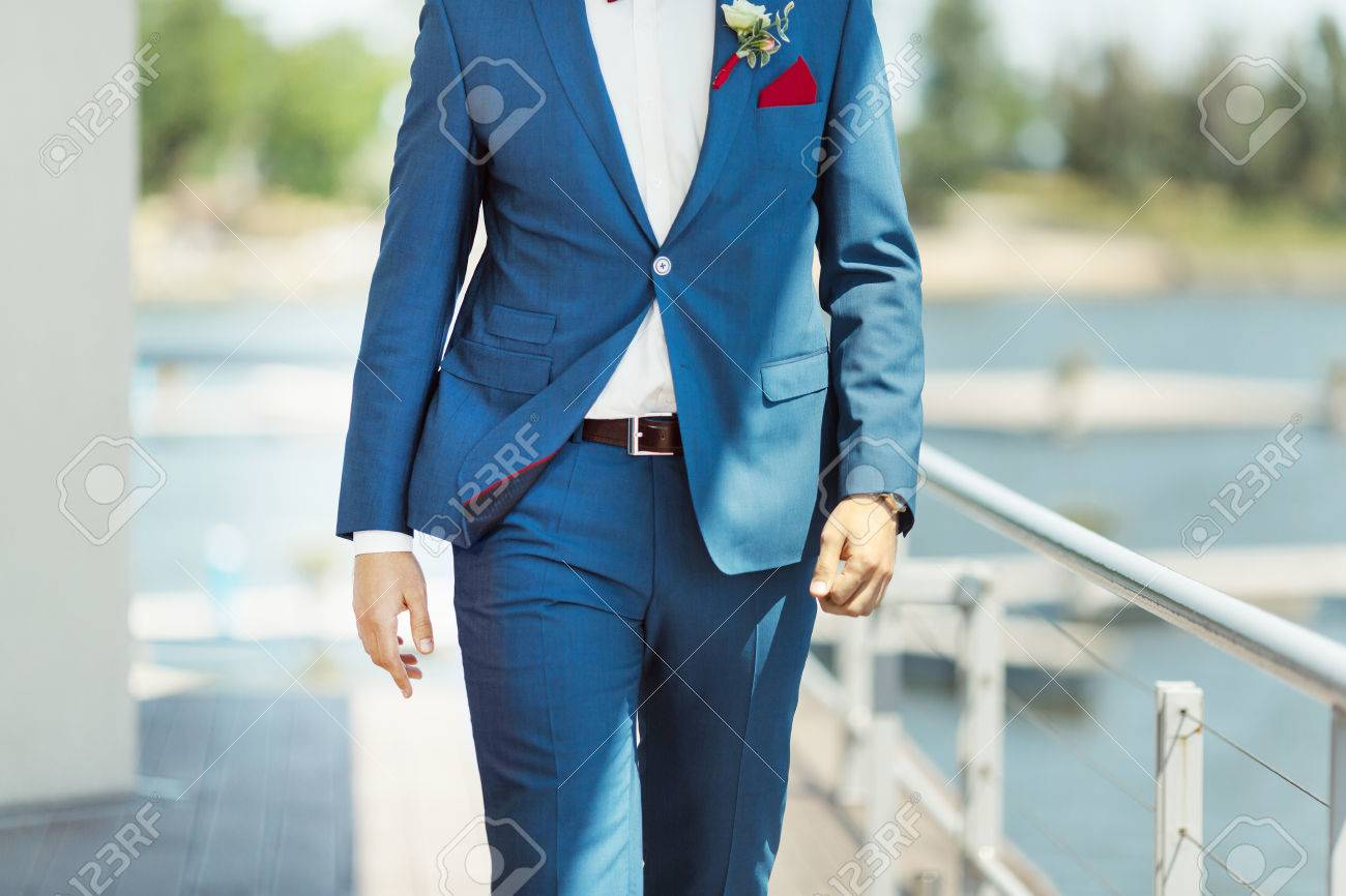 Wallking Groom. Details Of The Suite Without Face Stock Photo ...