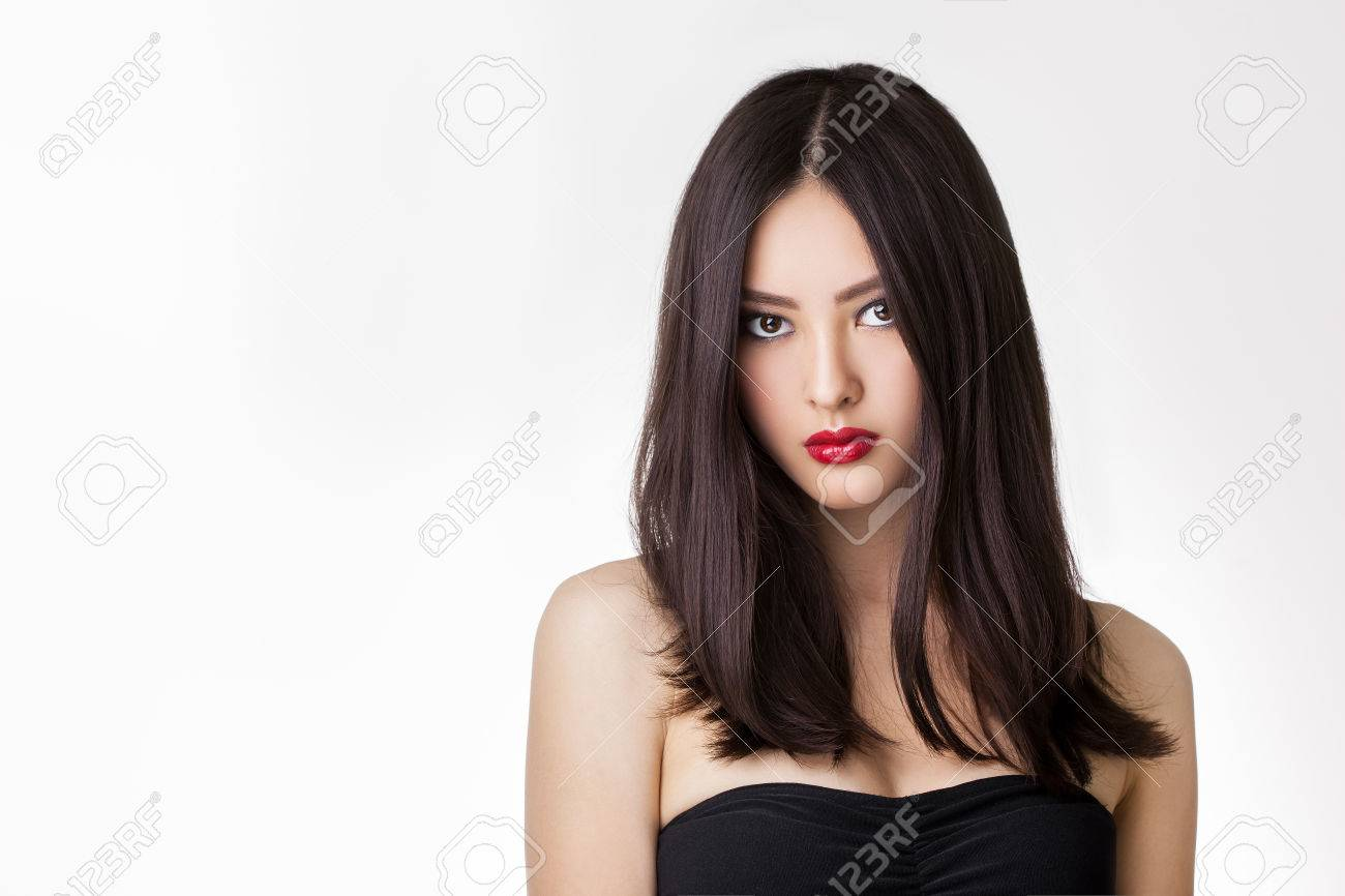 Beautiful Young Asian Woman With Long Hair On White Isolated Stock