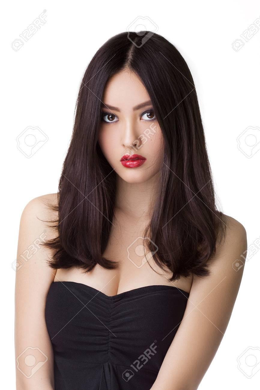 Schöne Junge Asiatische Frau Mit Langen Haaren Auf Weißem