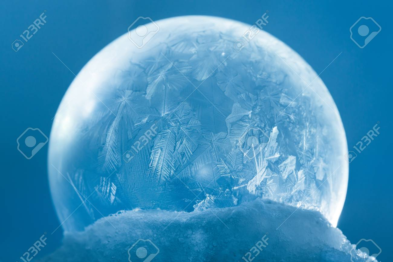 Frozen Christmas.Frozen Snow Globe Christmas Magic Ball With Flying Snowflakes