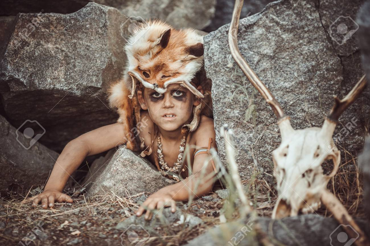 Caveman Manly Boy Hunting Outdoors Prehistoric Tribal Boy Outdoors