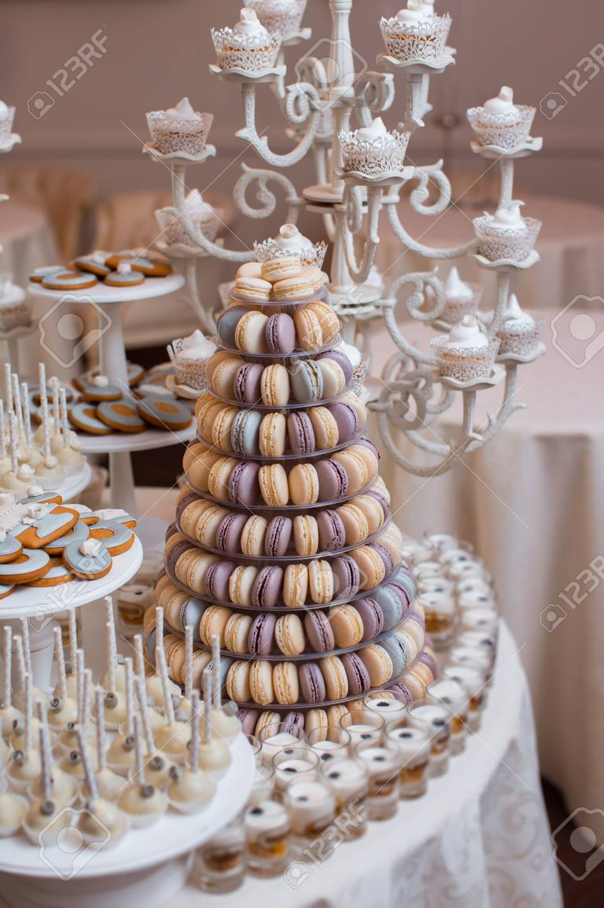 Luxury Wedding Candy Bar Table Set Macaron Tower Or Pyramid Stock Photo Picture And Royalty Free Image Image 119432239
