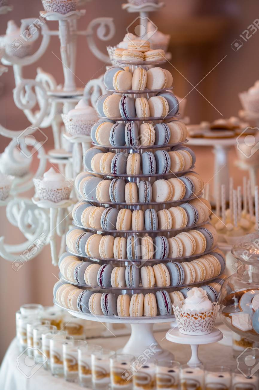 Luxury Wedding Candy Bar Table Set Macaron Tower Or Pyramid Stock Photo Picture And Royalty Free Image Image 119432248