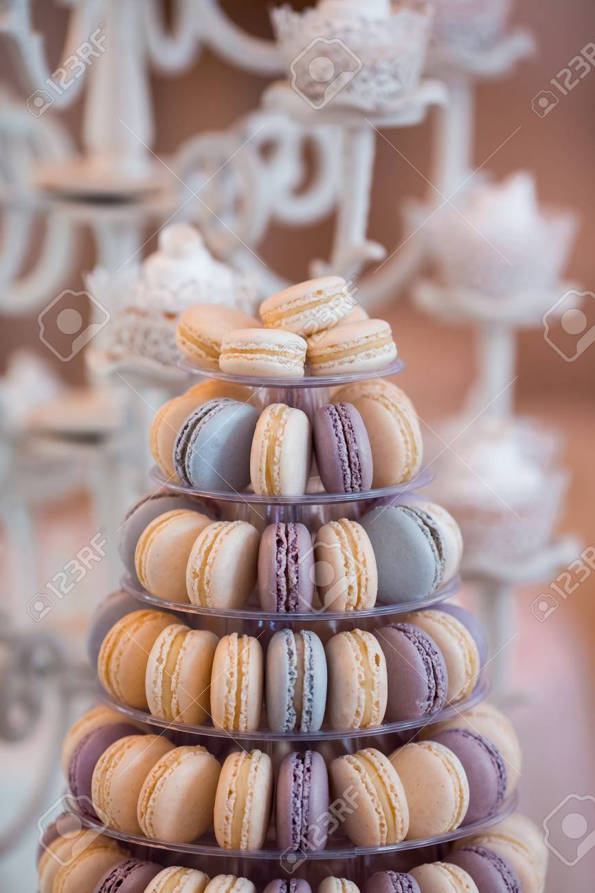 Luxury Wedding Candy Bar Table Set Macaron Tower Or Pyramid Stock Photo Picture And Royalty Free Image Image 119490941