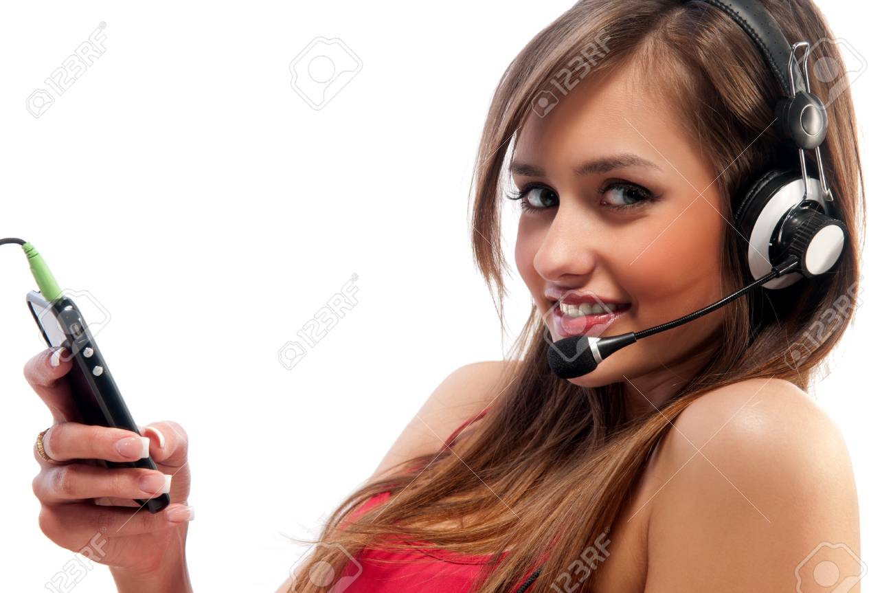 woman with a headset. Isolated white background with clipping path Stock Photo - 9654019