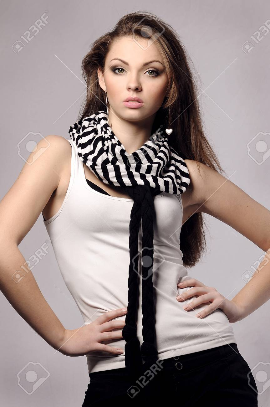 elegant fashionable beautiful woman with long hair Stock Photo - 11892064