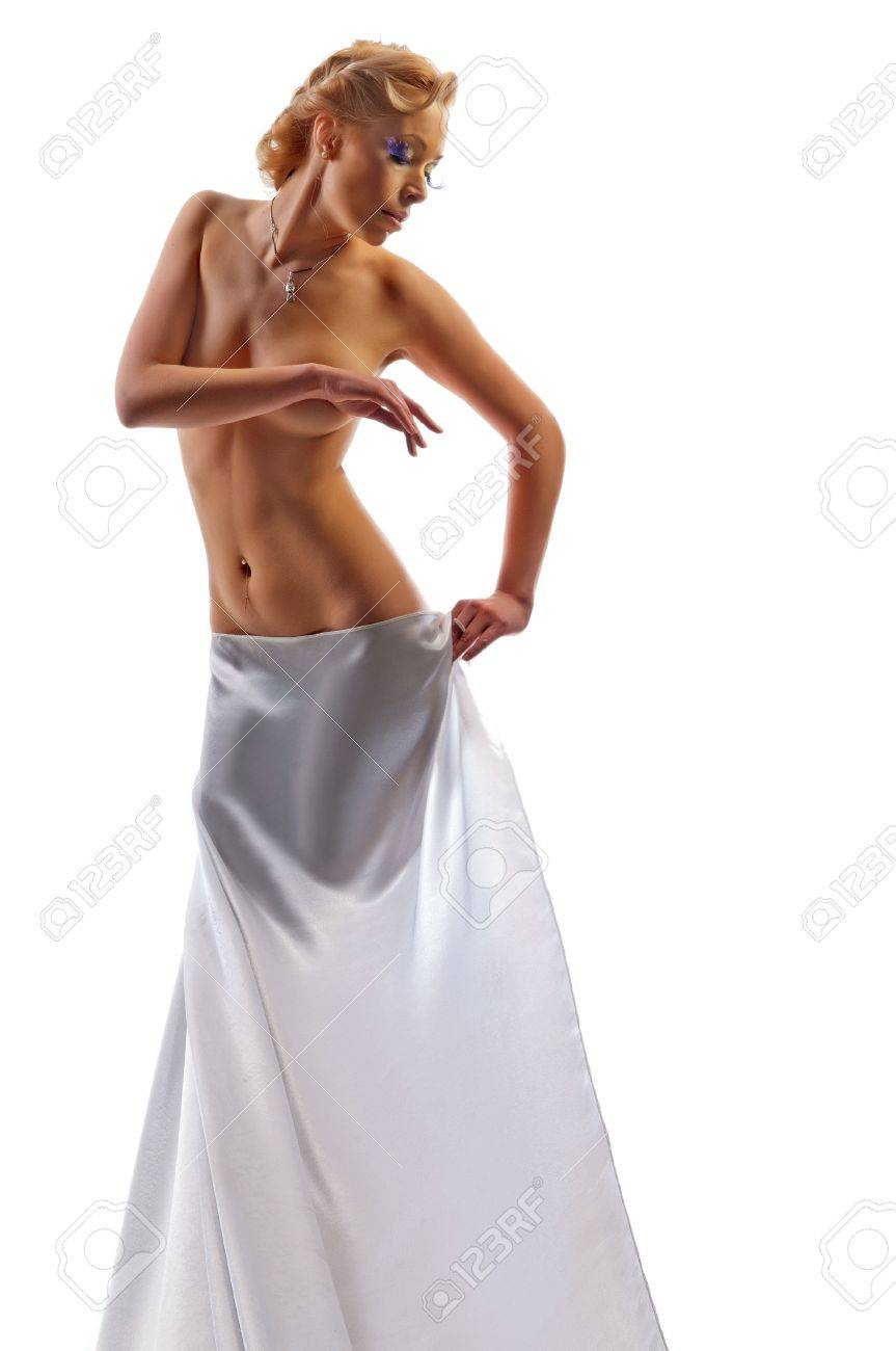 naked beautiful woman in a sheet on a white background Stock Photo - 13637717