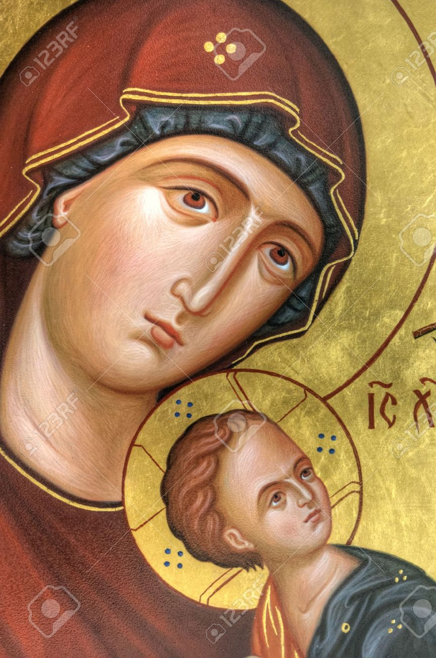 the icon a mother of god mary and child jesus christ on gilding